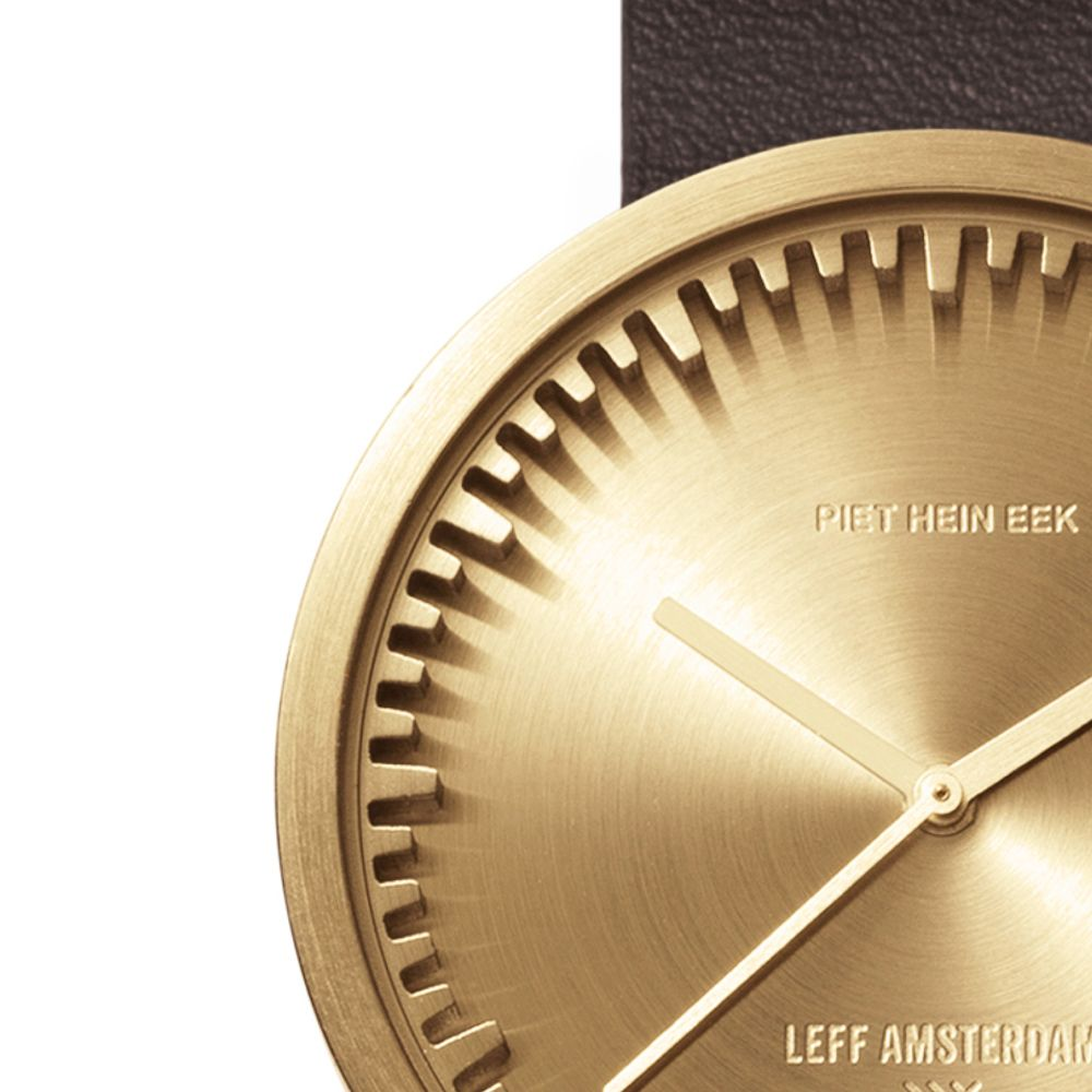 D42 brass case brown leather strap tube watch leff amsterdam design by piet hein eek zoom