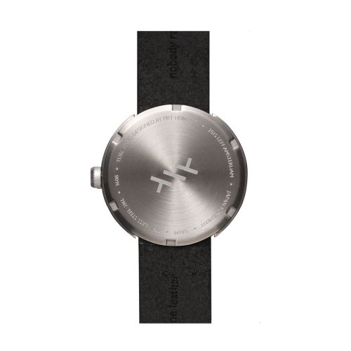 D42 steel case black leather strap tube watch leff amsterdam design by piet hein eek back 1