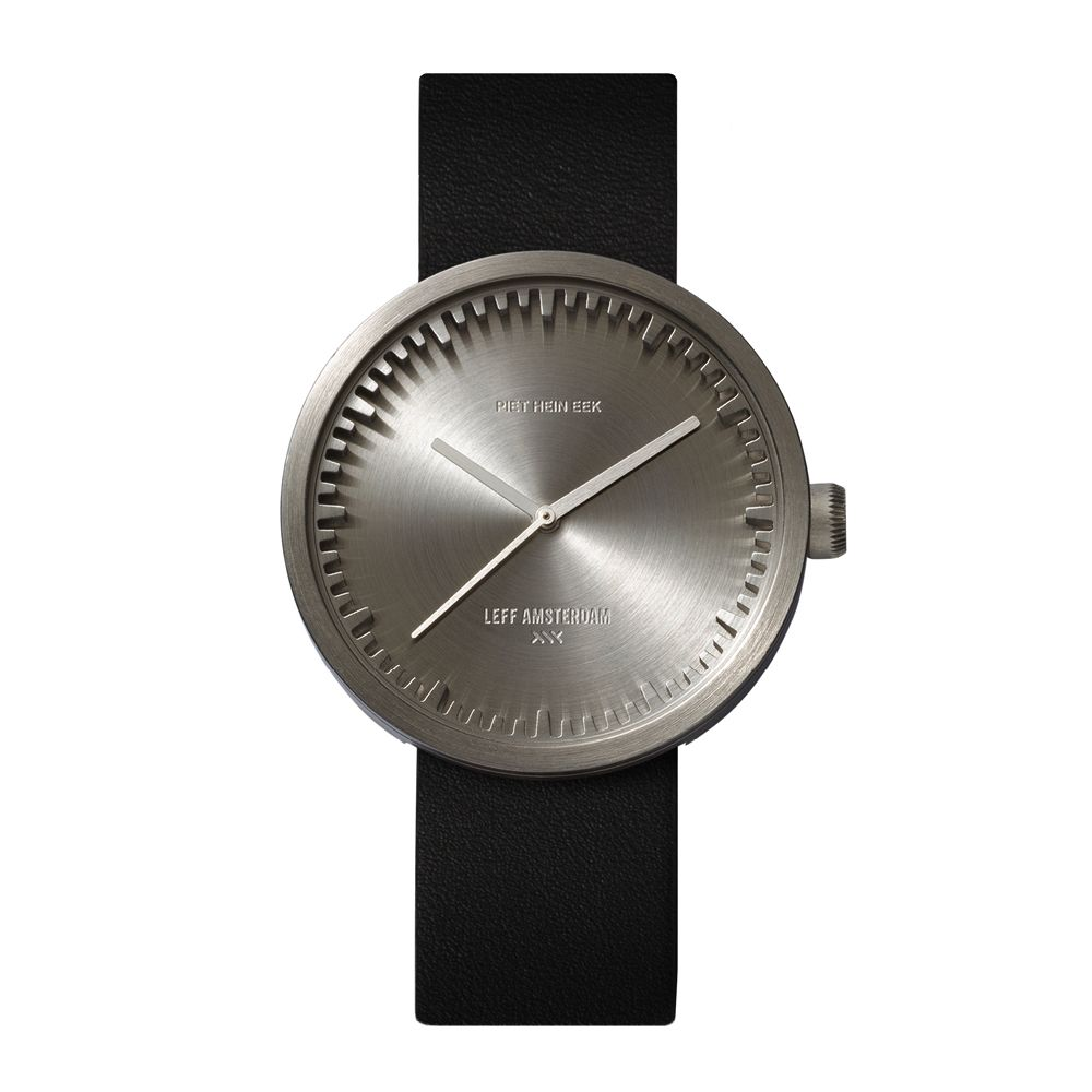 D42 steel case black leather strap tube watch leff amsterdam design by piet hein eek front 1
