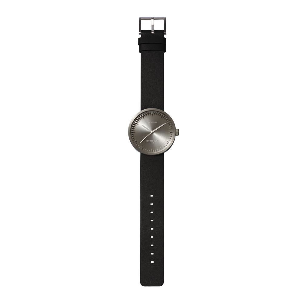 D42 steel case black leather strap tube watch leff amsterdam design by piet hein eek total 1