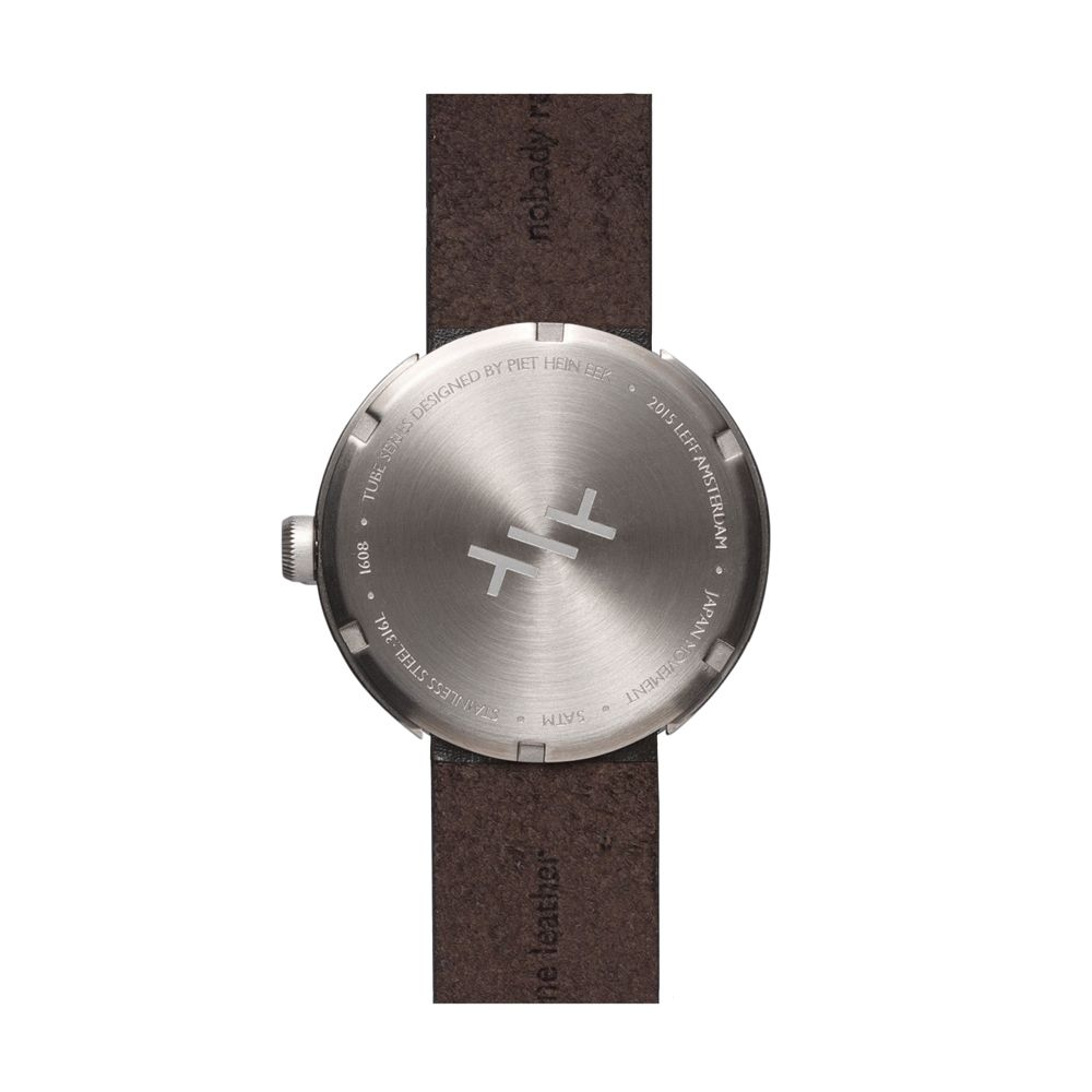 D42 steel case brown leather strap tube watch leff amsterdam design by piet hein eek back 1