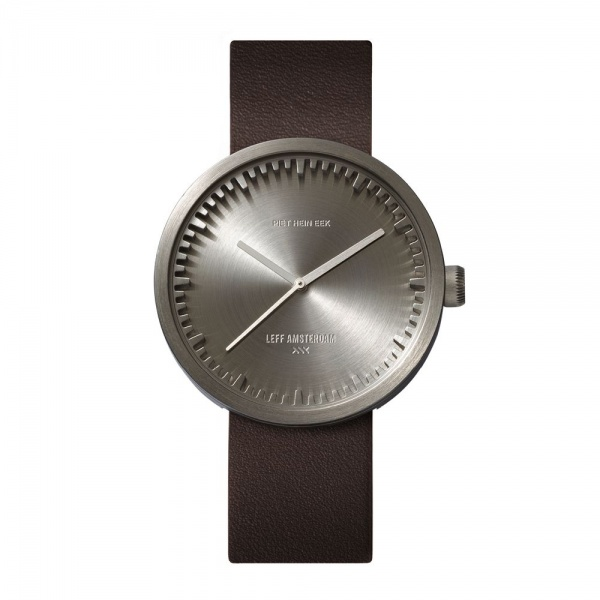 D42 steel case brown leather strap tube watch leff amsterdam design by piet hein eek front 1