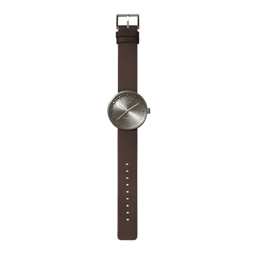 D42 steel case brown leather strap tube watch leff amsterdam design by piet hein eek total