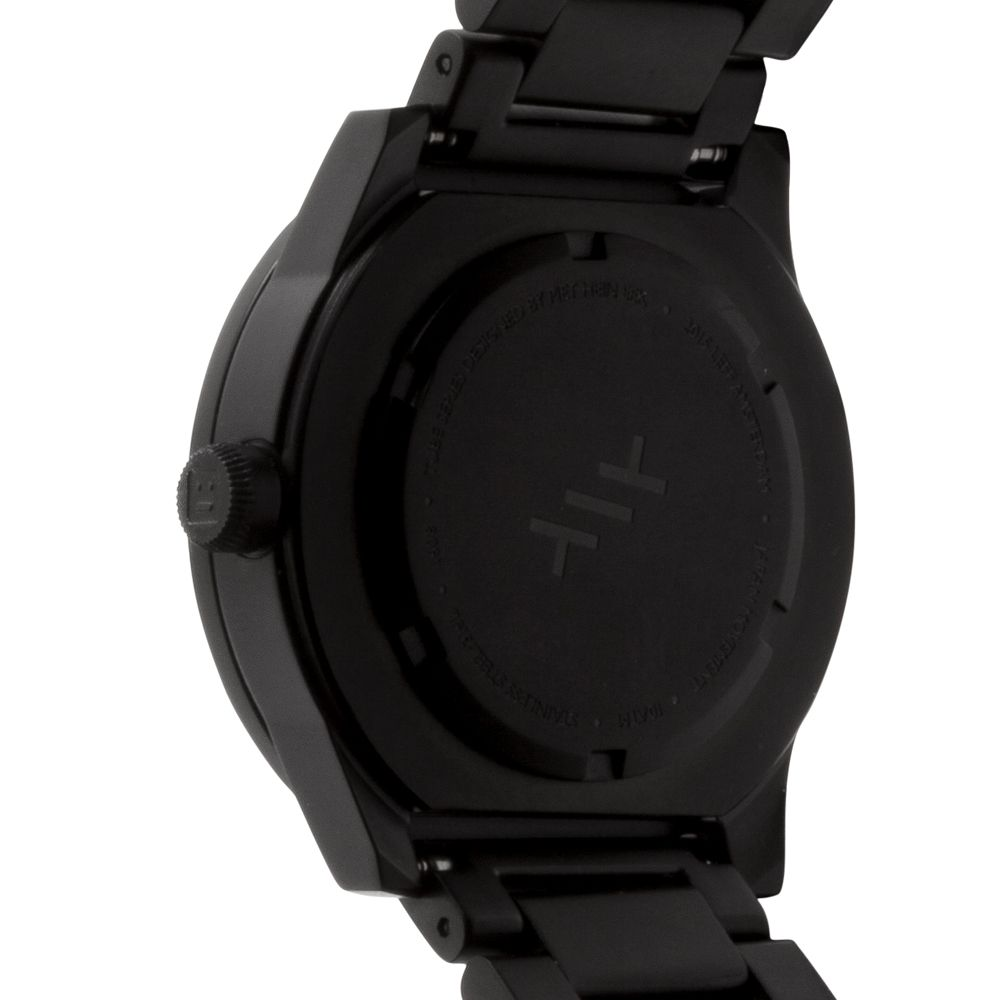 S38 black tube watch leff amsterdam design by piet hein eek back