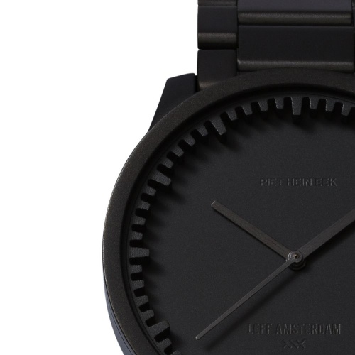 S38 black tube watch leff amsterdam design by piet hein eek detail