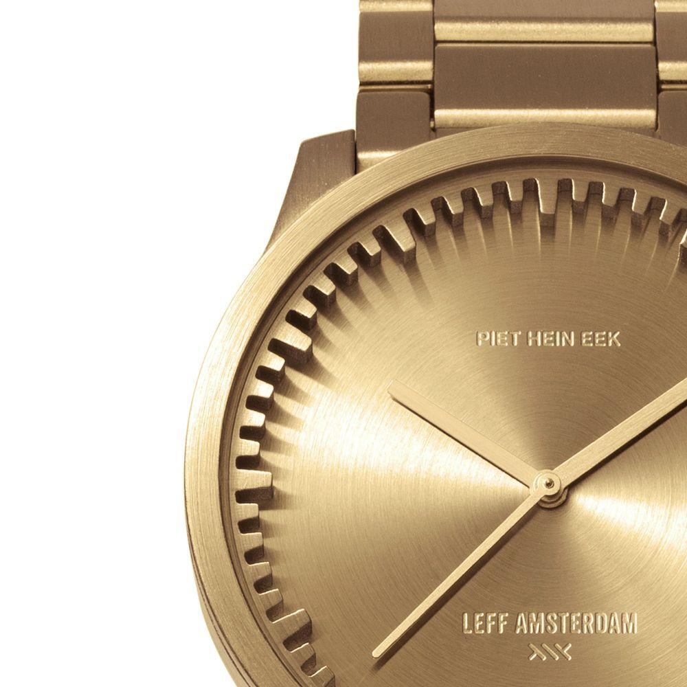 S38 brass tube watch leff amsterdam design by piet hein eek detail