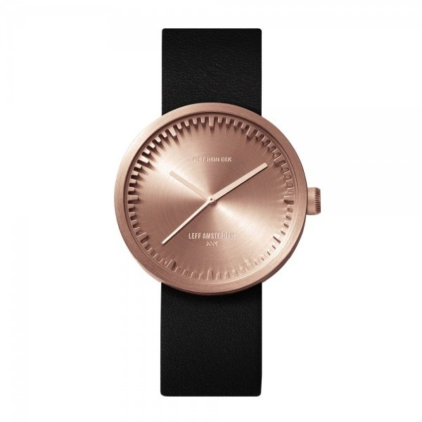 D38 brass case black leather strap tube watch leff amsterdam design by piet hein eek front 2