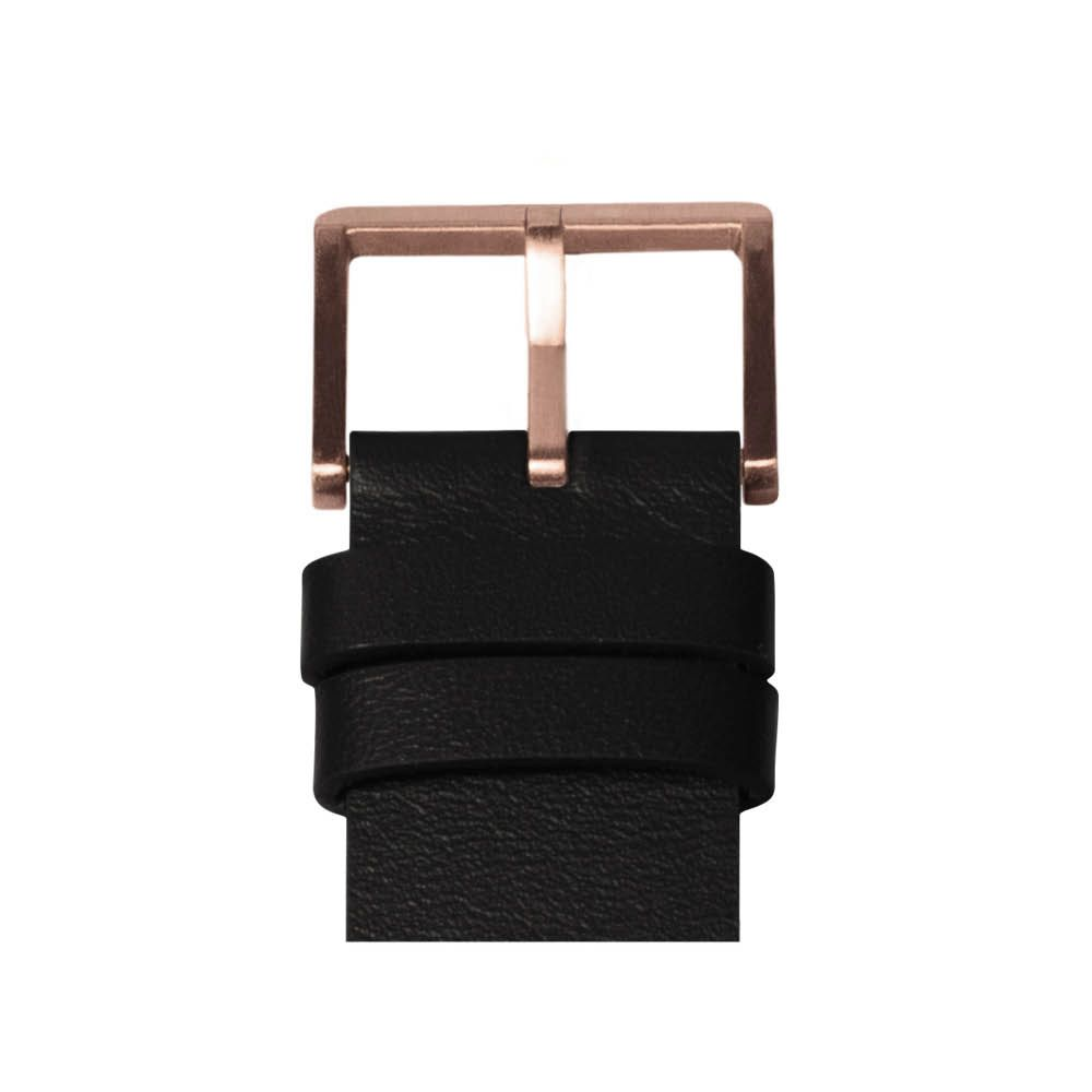 D38 rose gold case black leather strap tube watch leff amsterdam design by piet hein eek detail 2