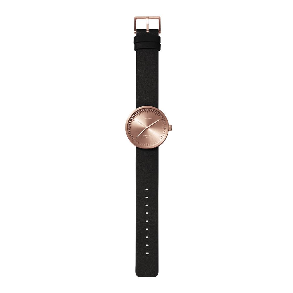 D38 rose gold case black leather strap tube watch leff amsterdam design by piet hein eek total 2