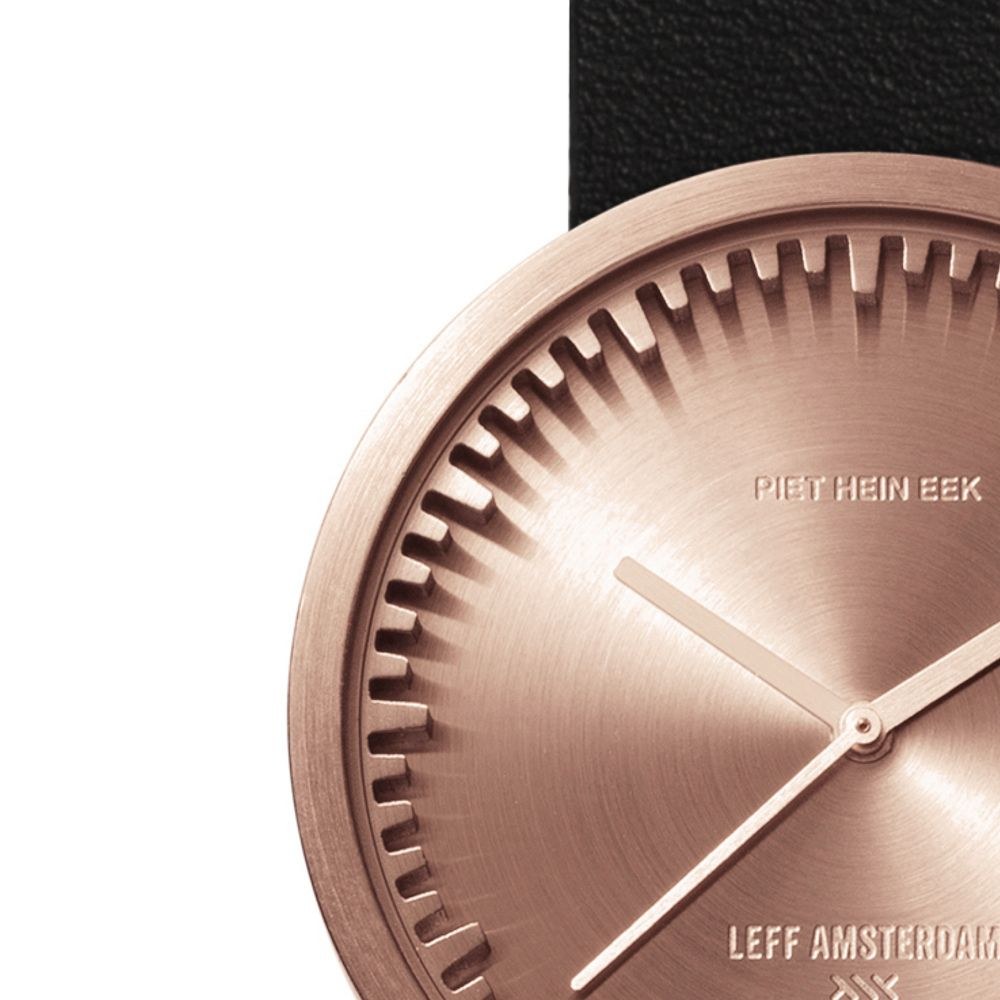 D38 rose gold case black leather strap tube watch leff amsterdam design by piet hein eek zoom v2