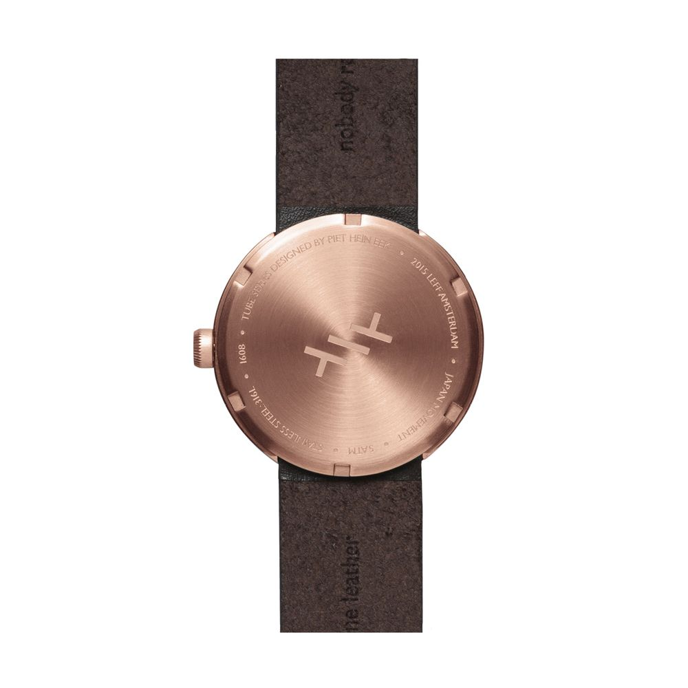 D38 rose gold case brown leather strap tube watch leff amsterdam design by piet hein eek back v2