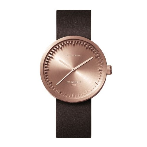 D38 rose gold case brown leather strap tube watch leff amsterdam design by piet hein eek front v2