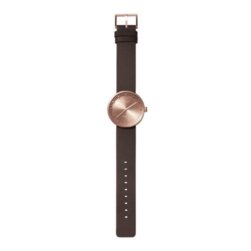 D38 rose gold case brown leather strap tube watch leff amsterdam design by piet hein eek total v2
