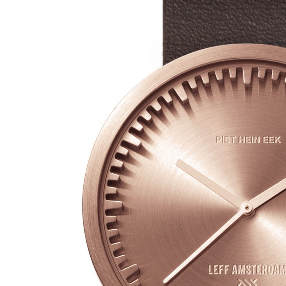 D38 rose gold case brown leather strap tube watch leff amsterdam design by piet hein eek zoom v2