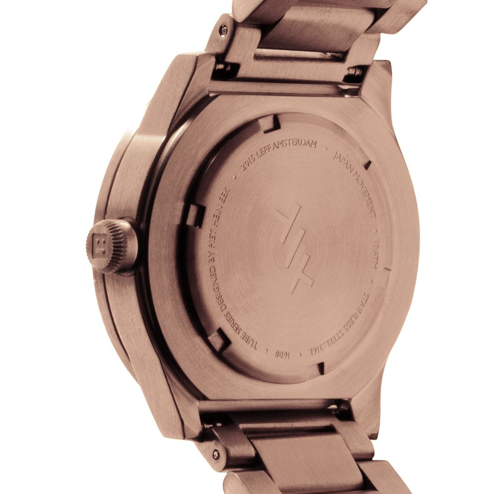 S38 rose gold tube watch leff amsterdam design by piet hein eek back