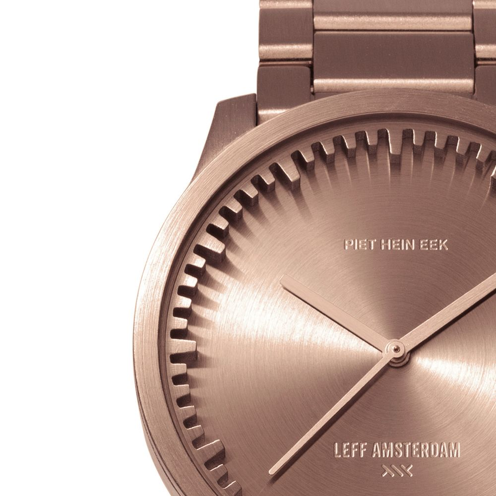 S38 rose gold tube watch leff amsterdam design by piet hein eek detail