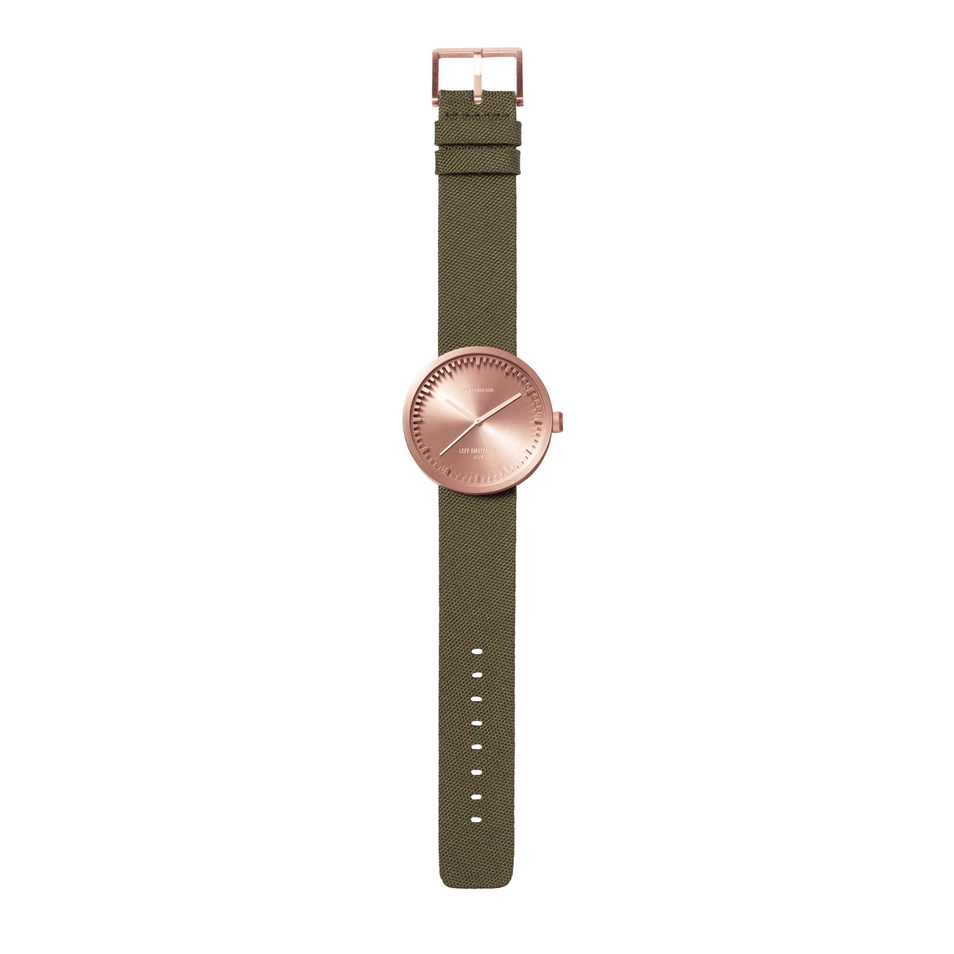 D38 rose glod case sand green cordura strap tube watch leff amsterdam design by piet hein eek