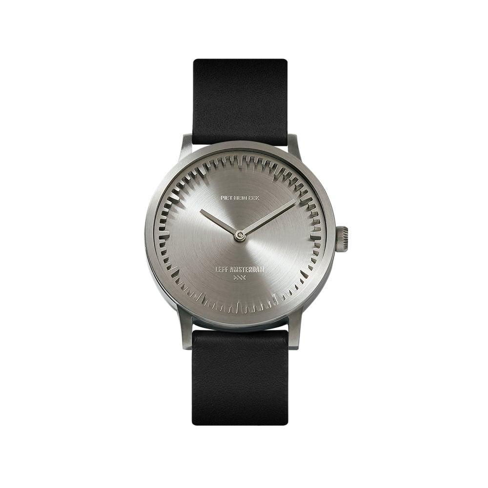 15915ed7c012 Tube watch T32 steel   black leather strap - LEFF amsterdam