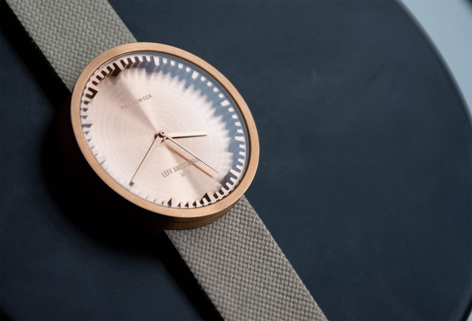 D38 Leff amsterdam tube watch cordura rose gold with sand nylon-leather