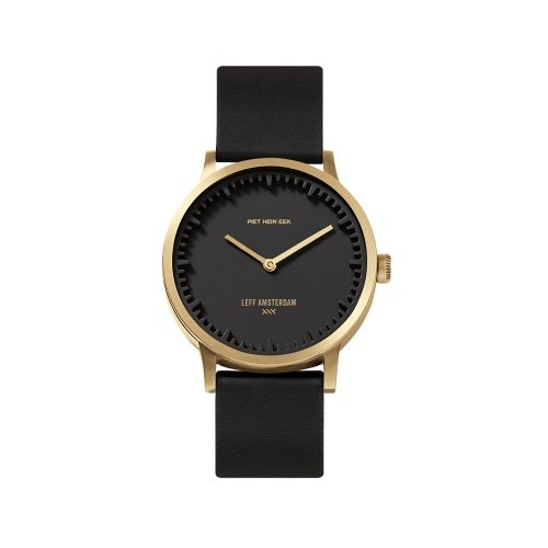 LEFF amsterdam tube watch T32 Black Brass Stainless steel case 32mm with black leather strap
