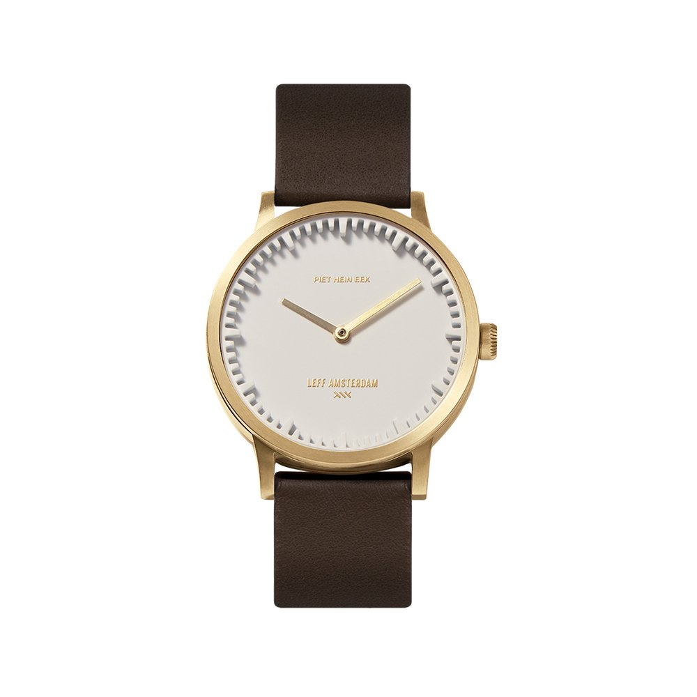 LEFF amsterdam tube watch T32 White-brass Stainless steel case 32mm with brown leather strap