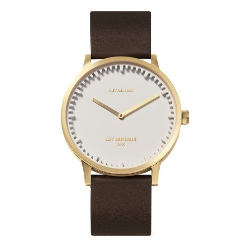 LEFF amsterdam tube watch T40 White brass Stainless steel case 40mm unisex with brown leather strap