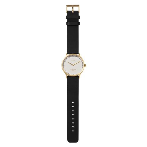 LEFF amsterdam tube watch T40 White brass case 40mm unisex with black leather strap