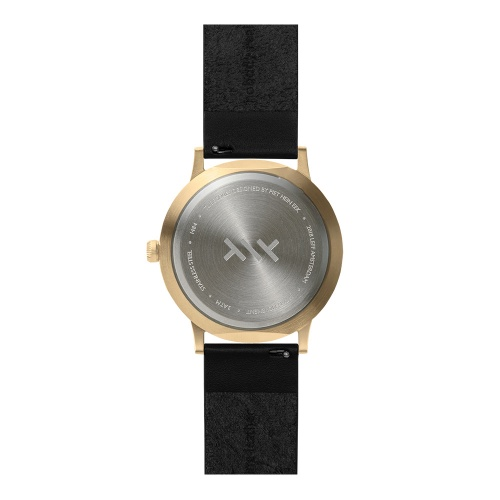 LEFF amsterdam tube watch T40 Black Brass Stainless steel case 40mm unisex with black leather strap