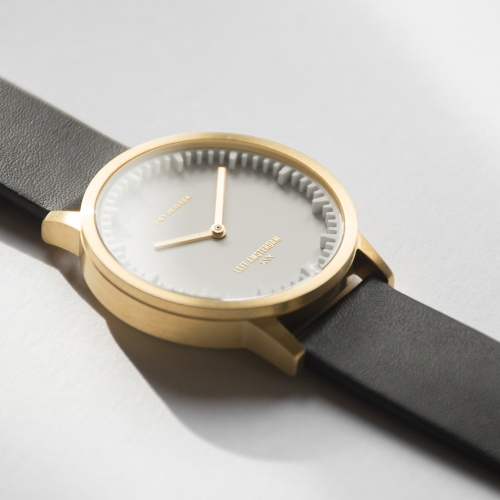 LEFF amsterdam tube watch T32 White brass case 32mm with black leather strap