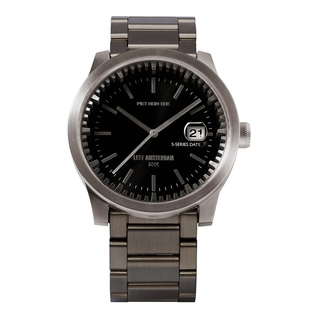 Leff amsterdam Tube watch S42 date black with black case